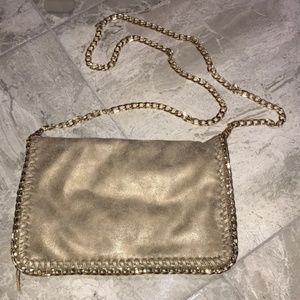 Metallic Gold Crossbody Bag with Gold Chain Strap